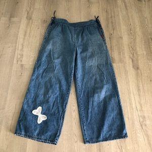 Vintage Wide Legged Denim Jeans Tie Waist Large